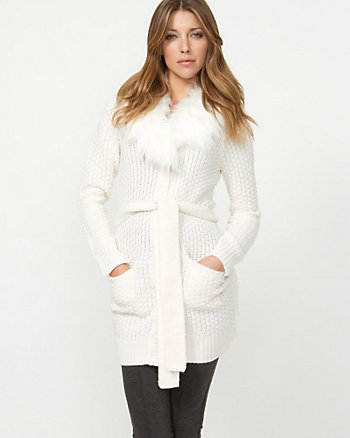 Faux Fur Collar Belted Cardigan