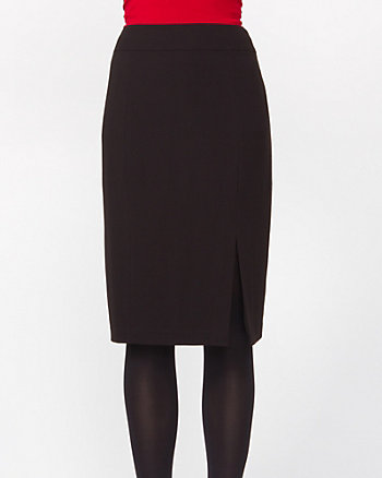 Crepe Front Slit Pencil Skirt