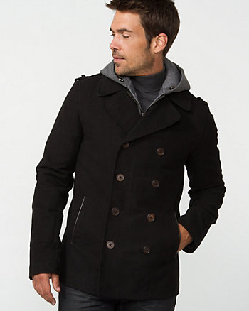 Moleskin Hooded Peacoat