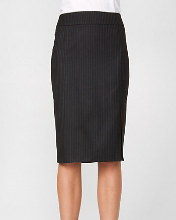 Striped Wool Blend Pencil Skirt