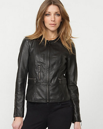 Leather-like Collarless Jacket