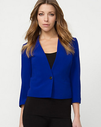 Collarless Double Weave Blazer