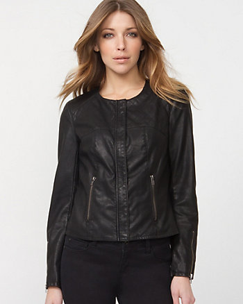Leather-like Collarless Moto Jacket