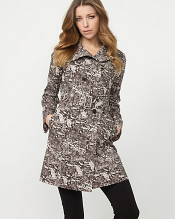 Cotton Blend Snake Print Trench