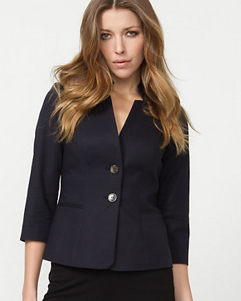 Cotton Inverted Collar Blazer
