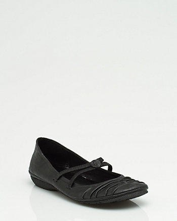 Leather-like Strappy Ballerina Flat