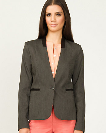 Colour Block Collarless Blazer