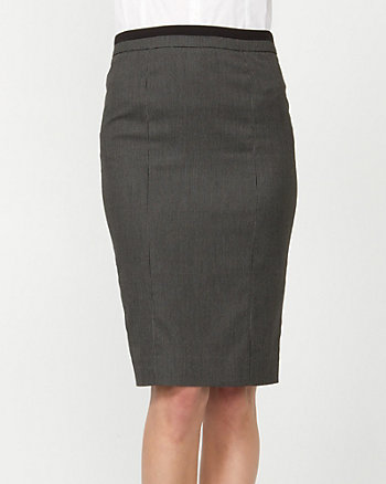 Textured Belted Pencil Skirt