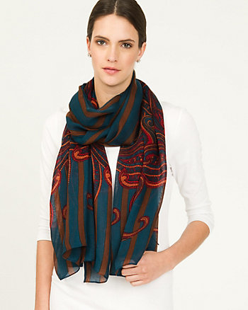 Stripe Embroidered Viscose Scarf