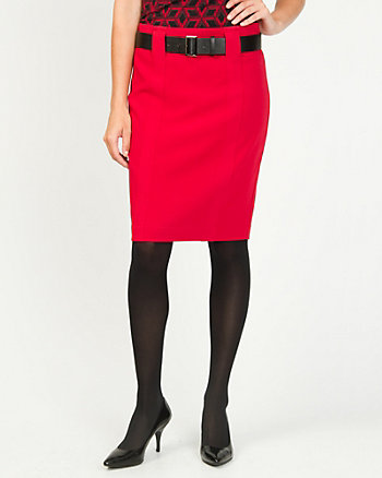 Double Weave Belted Pencil Skirt