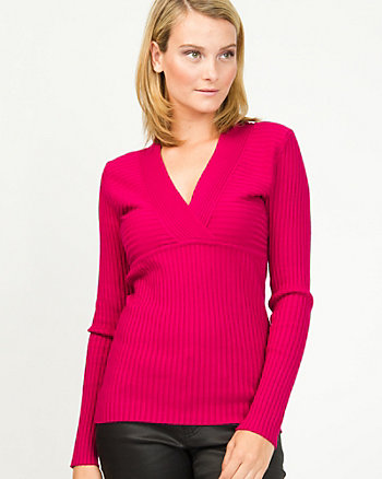 Viscose Blend Ribbed Sweater