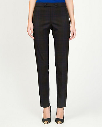 Viscose Blend Check Slim Leg Pant