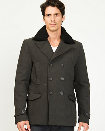 Wool Twill Double Breasted Peacoat