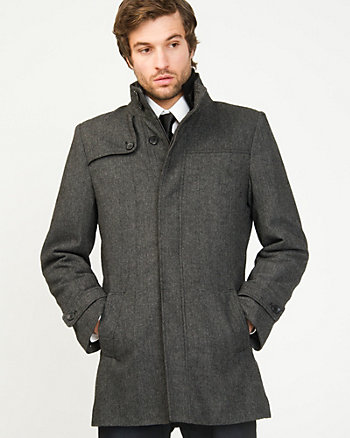Herringbone Funnel Neck Car Coat