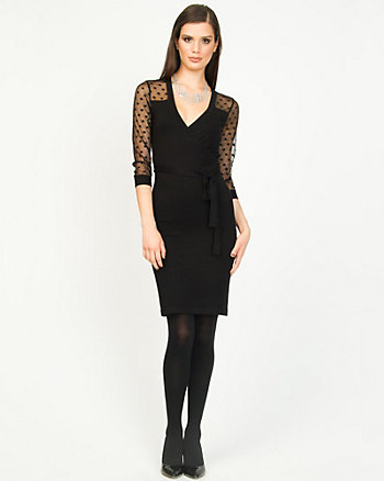 Knit Faux-Wrap Dress