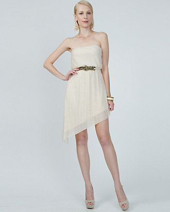 Belted Asymmetrical Cocktail Dress