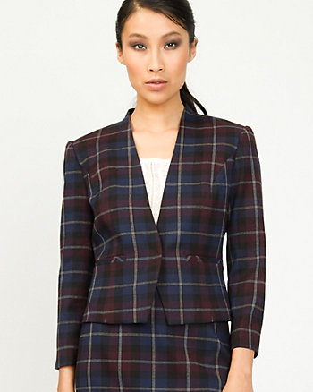 Woven Check Collarless Blazer