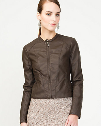 Leather-like Crinkle Moto Jacket