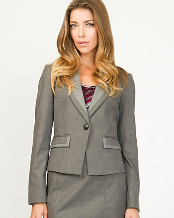 Ribbed Blazer With Notched Collar