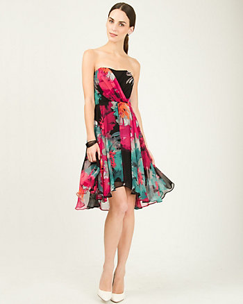 Robe cocktail en chiffon fleuri