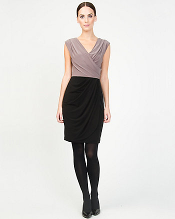 Colour Block Faux-Wrap Dress