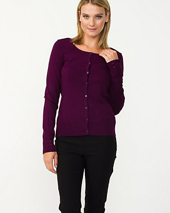 Viscose Blend Ribbed Cardigan