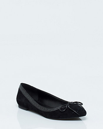Suede & Leather Pointy Toe Ballerina Flat