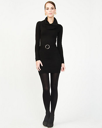 Cowl Neck Belted Sweater Dress