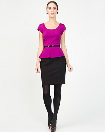 Ponte Knit Peplum Dress