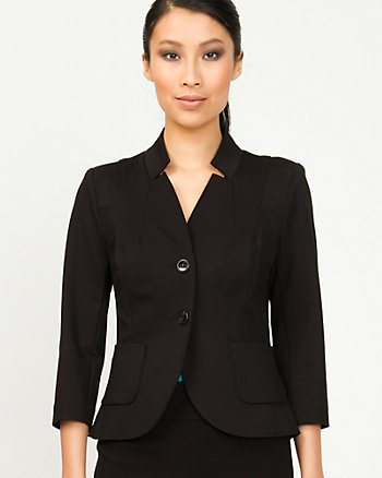 Ponte Inverted Collar Blazer