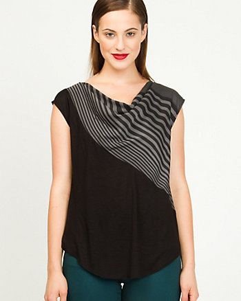 Crepe de Chine Stripe Cowl Neck Top