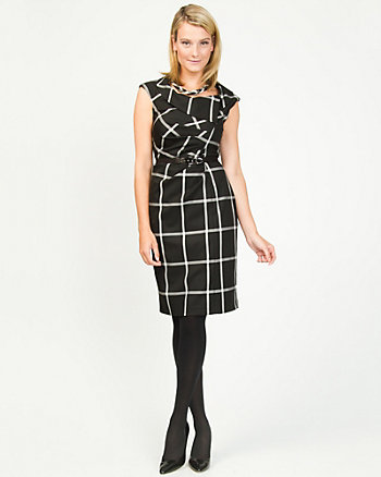 Viscose Blend Check Belted Shift Dress