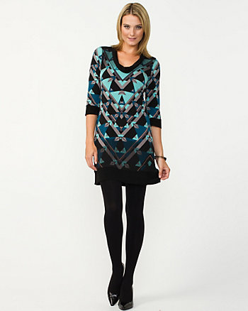 Knit Geo Print Tunic Dress