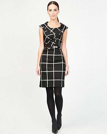 Viscose Blend Check Asymmetrical Dress
