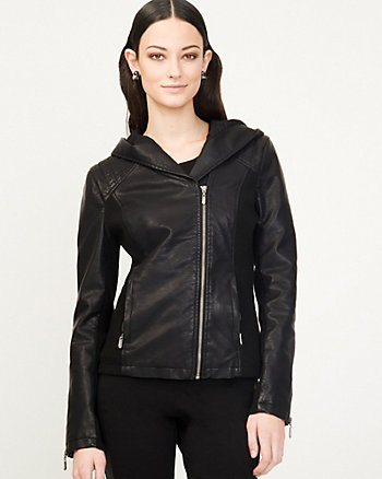 Leather-Like Hoodie