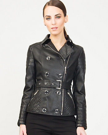 Leather-like Belted Jacket