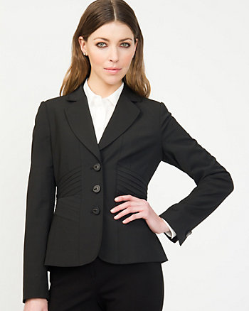 Pleated Trim Notch Collar Blazer