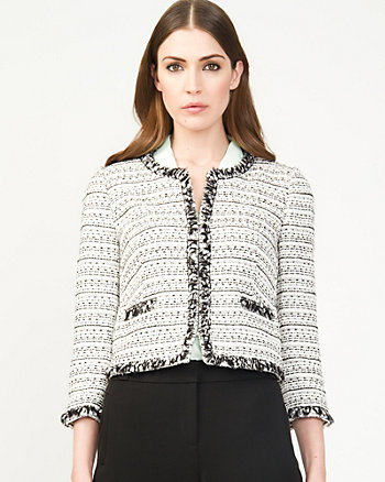 Bouclé Collarless Blazer