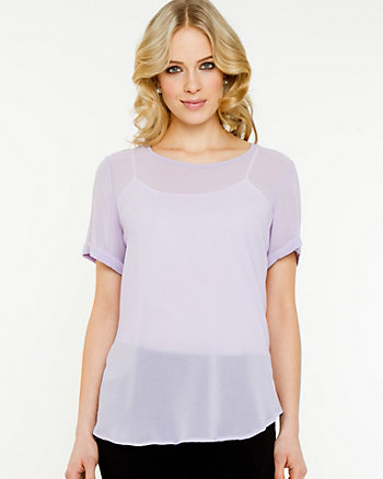 Chiffon Scoop Neck Blouse