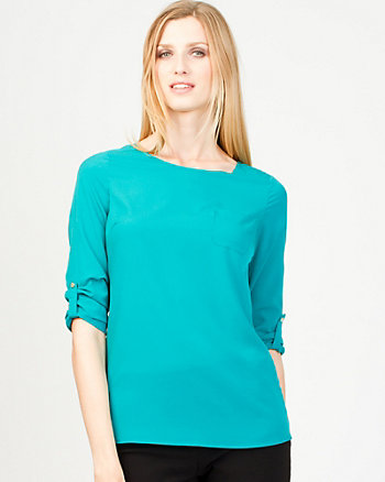 Pull-On Scoop Neck T-Shirt Blouse
