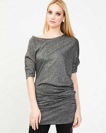 Relaxed Metallic Knit Tunic