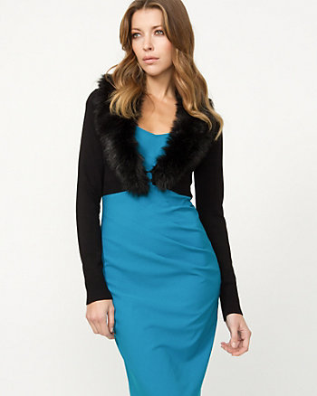 Faux Fur Trim Shrug