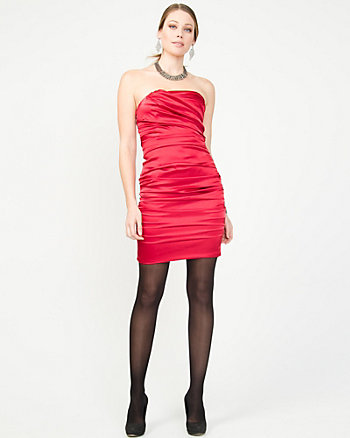 Taffeta Ruched Tube Dress