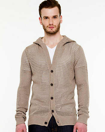 Cotton Button-Up Hooded Cardigan