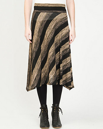 Knit A-line Stripe Skirt
