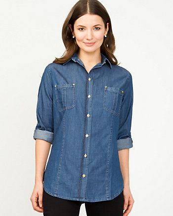 Denim Roll-Up Sleeve Shirt