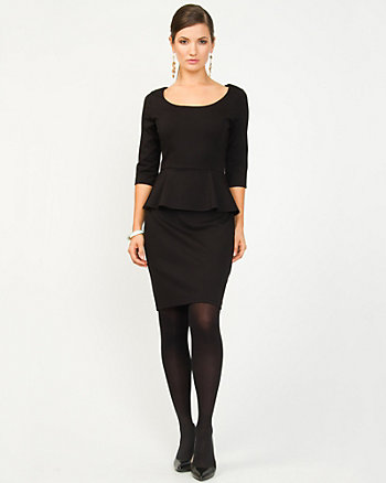 Ponte Knit Peplum Cocktail Dress