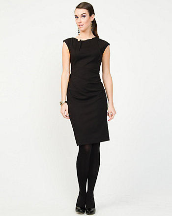 Ponte Knit Pleated Shift Dress