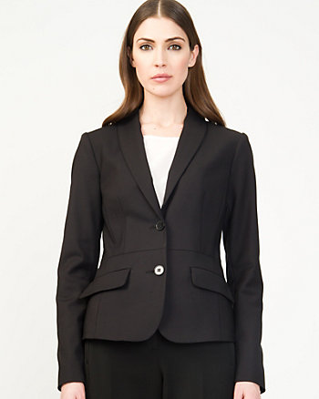 Cotton Blend Shawl Collar Blazer