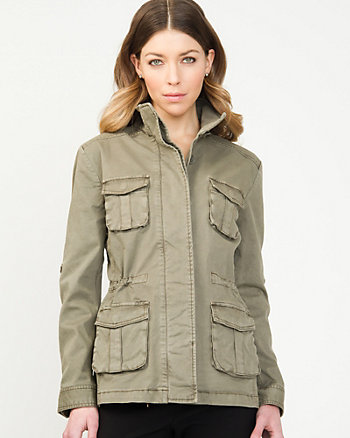 Cotton Blend Military Jacket